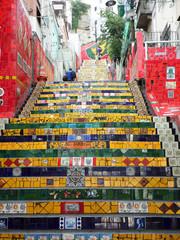Tiles from around the world on Escadaria Selaron in Rio de Janeiro, Brazil.