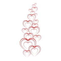 Folded hearts in a row progressively to move away