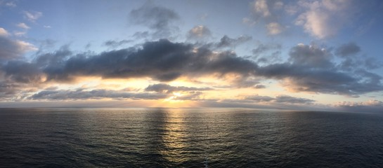 Panorama of sunset over ocean.
