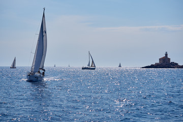 sailing boat in calm beautiful blue sea in croatia