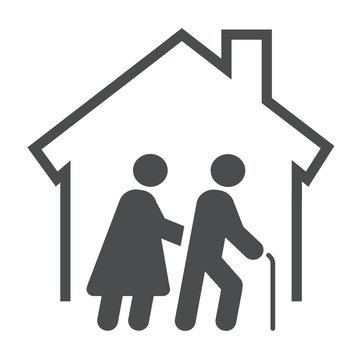 Logotipo asilo de ancianos. Icono plano casa con pareja mayor en color gris