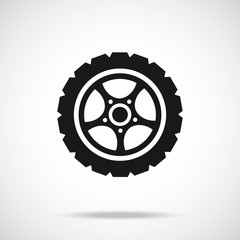 Tire icon. Black vector icon.