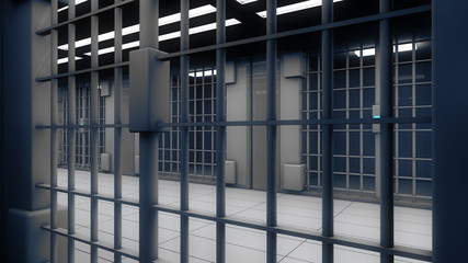 3d interior jail and iron bars