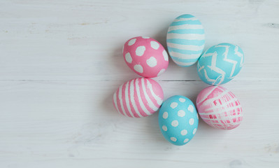 Pink and blue easter eggs