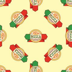 Seamless pattern  pizza emblem .