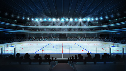 hockey stadium with fans and an empty ice rink