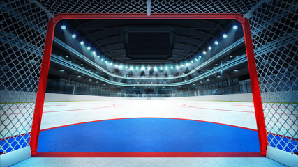 general hockey stadium view inside goal