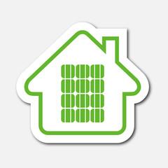 Logo maison et panneaux solaires.