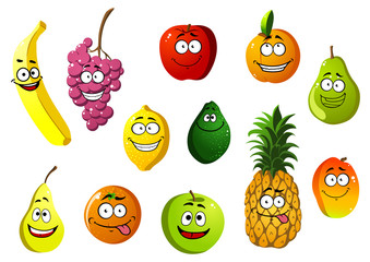 Happy smiling cartoon fruits characters