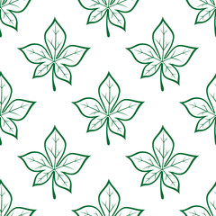 Green leaves square seamless pattern
