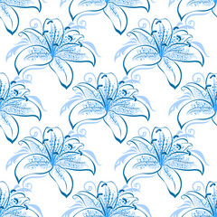 Light blue lily floral seamless pattern