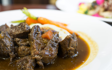Beef Stew with red vine, carrots and potatoes