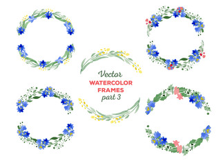 Vector watercolor wreaths and separate floral elements for custo