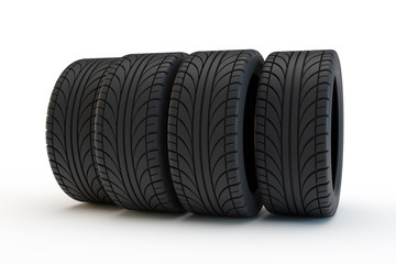 row of automobile tires