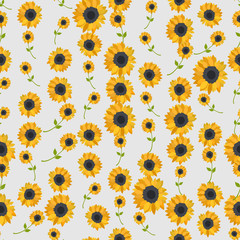Seamless colorful background made of sunflowers  in flat design