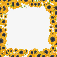 colorful frame made of sunflowers  in flat design