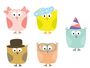 cute little owls set / vectors