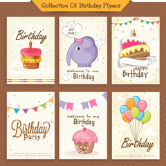 Set of Birthday Invitations Cards.