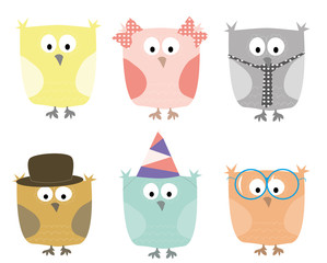 set of cartoons owls / vectors