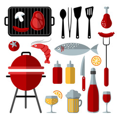 Set of barbecue food and utensils elements, flat design, vector