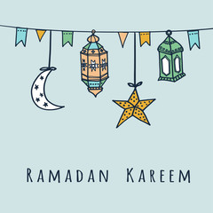 Arabic lanterns, flags, moon, stars, Ramadan vector