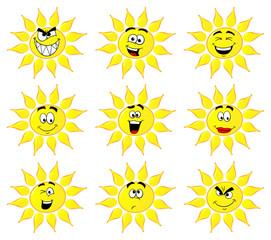 Cartoon Sonnen mit verschiedenen Gesichtern