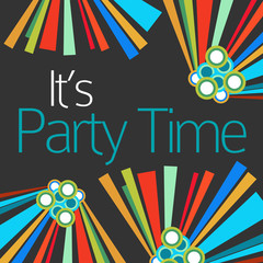 Its Party Time Text Dark Colorful Elements