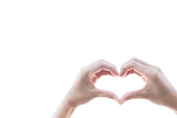 Hand woman big heart  shape