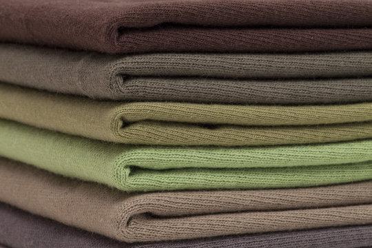 Brown and green shirts