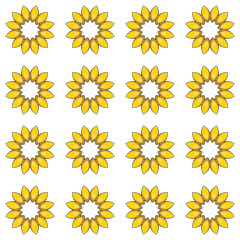 Seamless pattern with cartoon yellow flowers