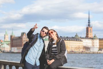 Young hipster couple visiting Stockholm