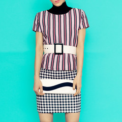 Stripes and checkered in Clothing.Fashion combination. Stylish l