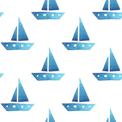 Boats seamless sea summer watercolor pattern