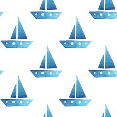 Boats seamless sea summer watercolor pattern