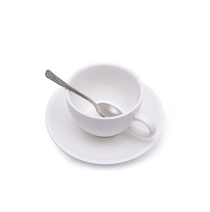 Isolated white coffee cup on white background