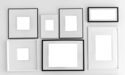 Blank picture frame template set on wall ( with separate layer c