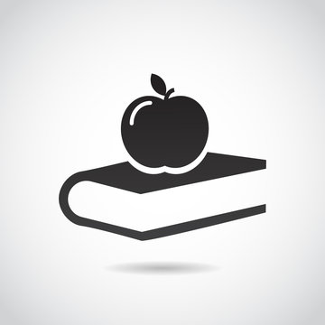 Apple and book - education vector icon.