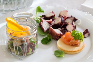 Salmon Crouton with octopus salad