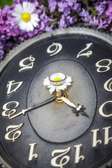 Clock surrounded by spring flowers with a ring in the middle.