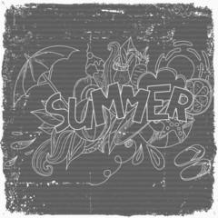 Summer doodle pattern, beach, summer vacation.