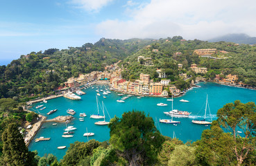 Aerial panorama of Portofino, Italy. View from Castle.