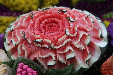 Thai art of watermelon carving like flower.