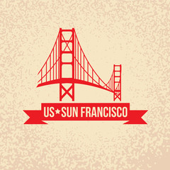 Golden Gate bridge - The symbol of US, Sun Francisco.