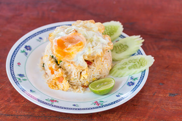 Fried rice with fried egg in Thai style
