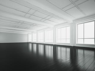 Empty loft interior with black floor. 3d rendering
