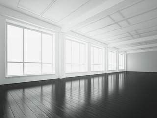 White loft interior. 3d rendering