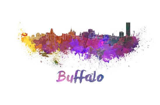 Buffalo skyline in watercolor