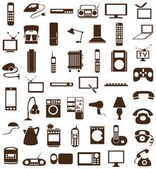 household appliances icons on white