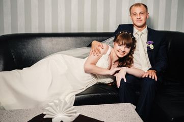 Charming bride and groom on their wedding celebration in a