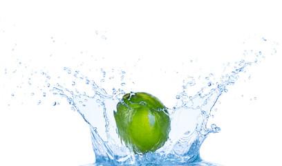 Fresh lime in water splash on white background